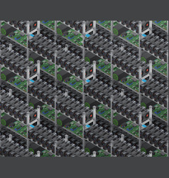 Isometric crypto currency mining farms vector