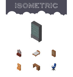 Isometric furnishing set of table drawer vector
