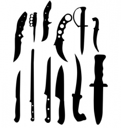 knifes silhouettes vector image