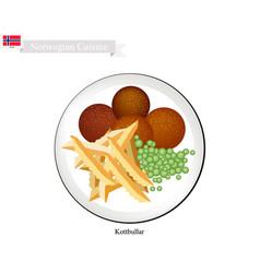 kottbullar or meatballs a popular dish in norway vector image