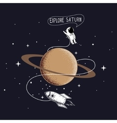 Little astronaut exploring Saturn vector image