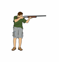 Man with shotgun vector