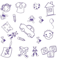 many toy kids doodle art vector image