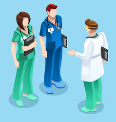 Medical doctor talking with two nurses isometric vector