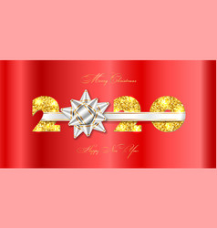 merry christmas card 3d gift bow white ribbon vector image