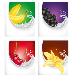 Milk splash with black current banana cherry vector