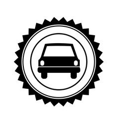 Monochrome circular seal with automobile in front vector