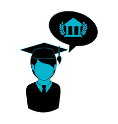 monochrome half body man with graduation outfit vector image