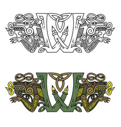 Monogram in celtic style with a wolf vector