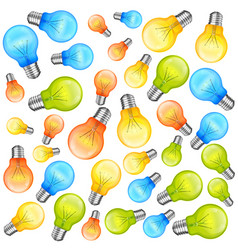 Multi-colour light bulbs on white background vector