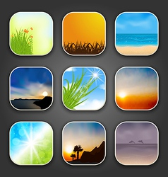 Natural landscapes for app icons vector