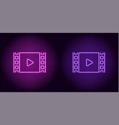 Neon cinema film in purple and violet color vector
