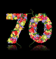 Number seventy made from fruits vector