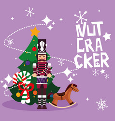 Nutcracker soldier with tree christmas and toy vector