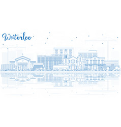 Outline waterloo iowa usa city skyline with blue vector