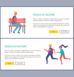 People in park boy sitting on bench couple jogging vector