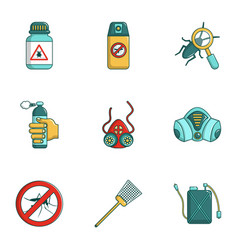 pest control icons set cartoon style vector image