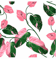 pink green liana branch seamless pattern vector image