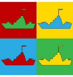 Pop art warship icons vector image