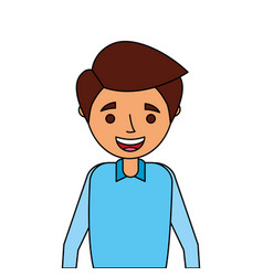 portrait happy young man smiling cartoon vector image