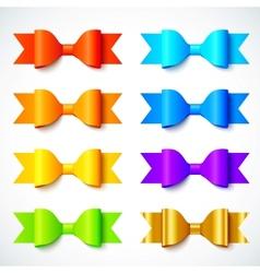 Rainbow colors bright paper bows set vector image