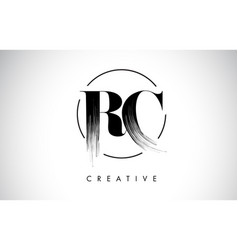 rc brush stroke letter logo design black paint vector image