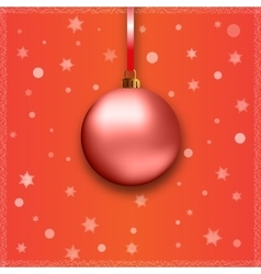 red christmas ball with ribbon vector image