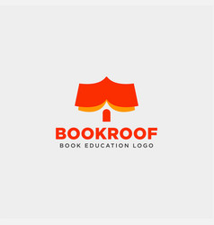 Roof book store or book home simple logo template vector
