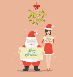 santa claus and santa girl are holding christmas vector image