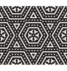 Seamless Black and White Rounded Floral vector image