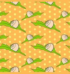 seamless vintage pattern with shell on leaf vector image