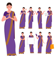 set indian young women poses and actions vector image