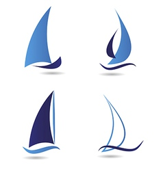 Set logos sailboat or navigation vector