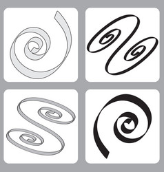 Set of icons with springs spirals vector