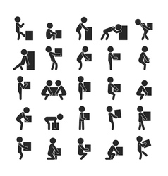 Set of man moving box Human pictogram Icons vector image