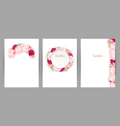 Set of three congratulation cards with flower vector