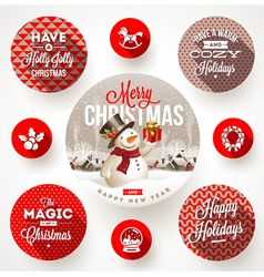 set round frames with christmas greetings vector image