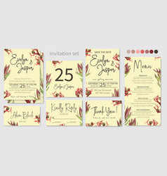 set wedding invitation greeting card save vector image