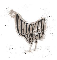sketch farm chicken or hen linocut style vector image