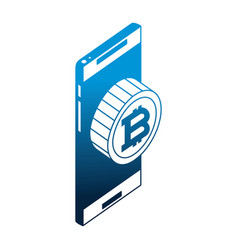 smartphone with bitcoin virtual isometric icon vector image