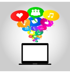 Social network icons on thought bubbles colors vector image