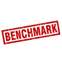 Square grunge red benchmark stamp vector