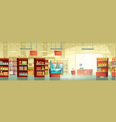 supermarket trading room carton interior vector image