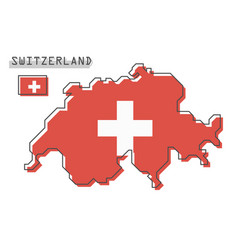 switzerland and flag modern simple line vector image