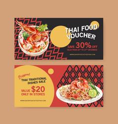 Thai food voucher design with tom yum pad vector