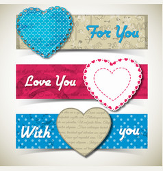 three colored romantic banner set vector image