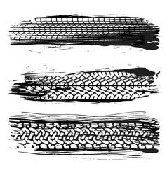 three grunge tire set vector image
