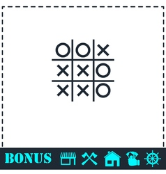 Tic tac toe game icon flat vector