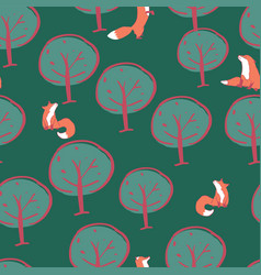 tree fox seamless pattern design vector image