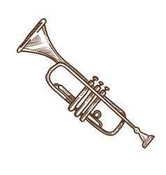 Trumpet horn or pipe isolated sketch musical vector